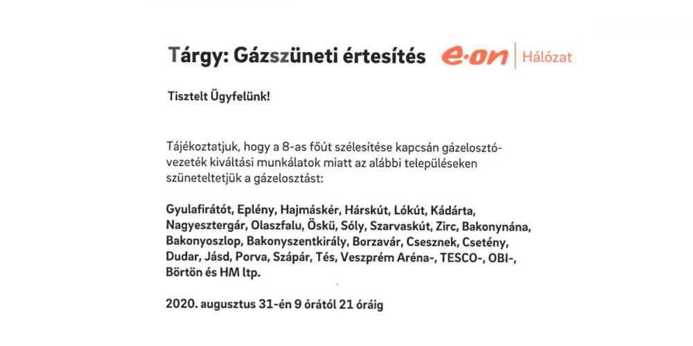 Szünet a gázszolgáltatásban 2020.08.31.