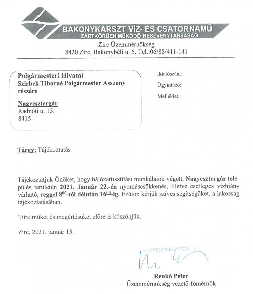 Bakonykarszt Zrt. karbantartás 2021.01.22 08:00-16:00