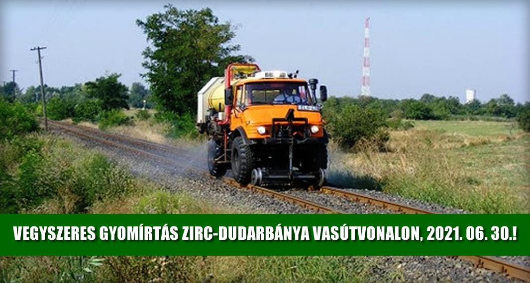 Tájékoztatás vasúti vegyszeres gyomírtásról (2021.06.30)