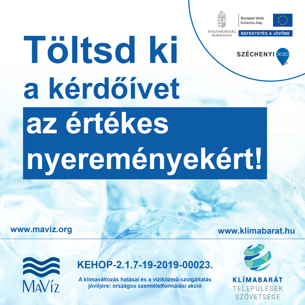 Töltse ki a Klímabarát Települések Szövetsége és a Magyar Víziközmű Szövetség kérdőívét